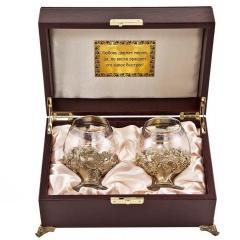 """Набор из 2-х бокалов для бренди Богемия, отделка """"Флорис"""""""