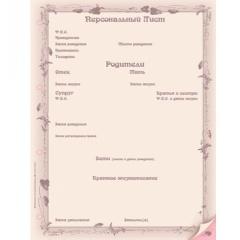 Персональный лист женский (компьютерное заполнение)