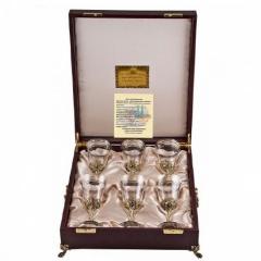 """Набор из 6-ти бокалов для вина Богемия, отделка """"Флорис"""""""
