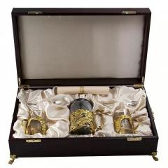 """Набор для чая с френч-прессом """"Шиповник"""" (золото)"""